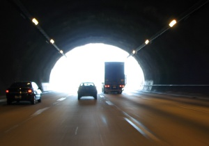 A moving truck in a tunnel