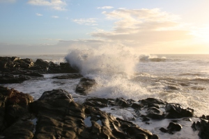 Waves breaking against a rocky shore