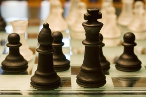A close-up of chess pieces