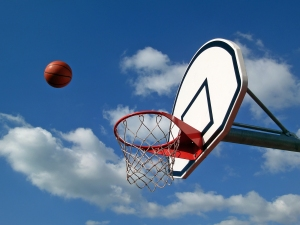 Shooting the ball into the hoop
