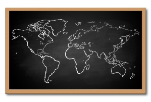 world map on chalkboard