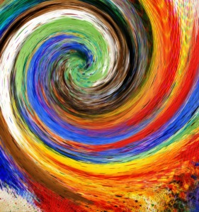 a swirl of colors on a canvas