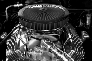 a shiny car engine